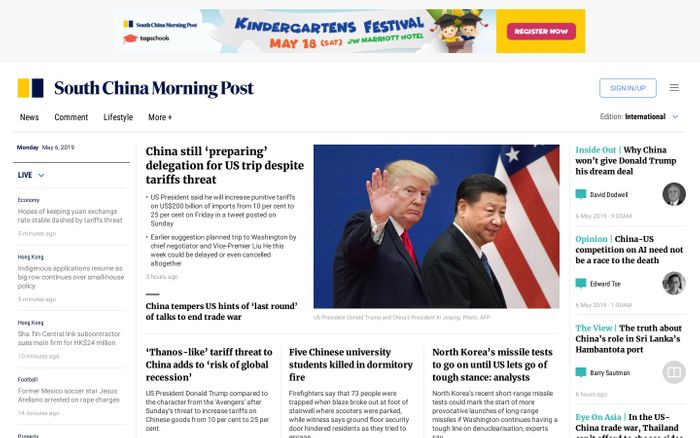 Screenshot of International Edition | South China Morning Post