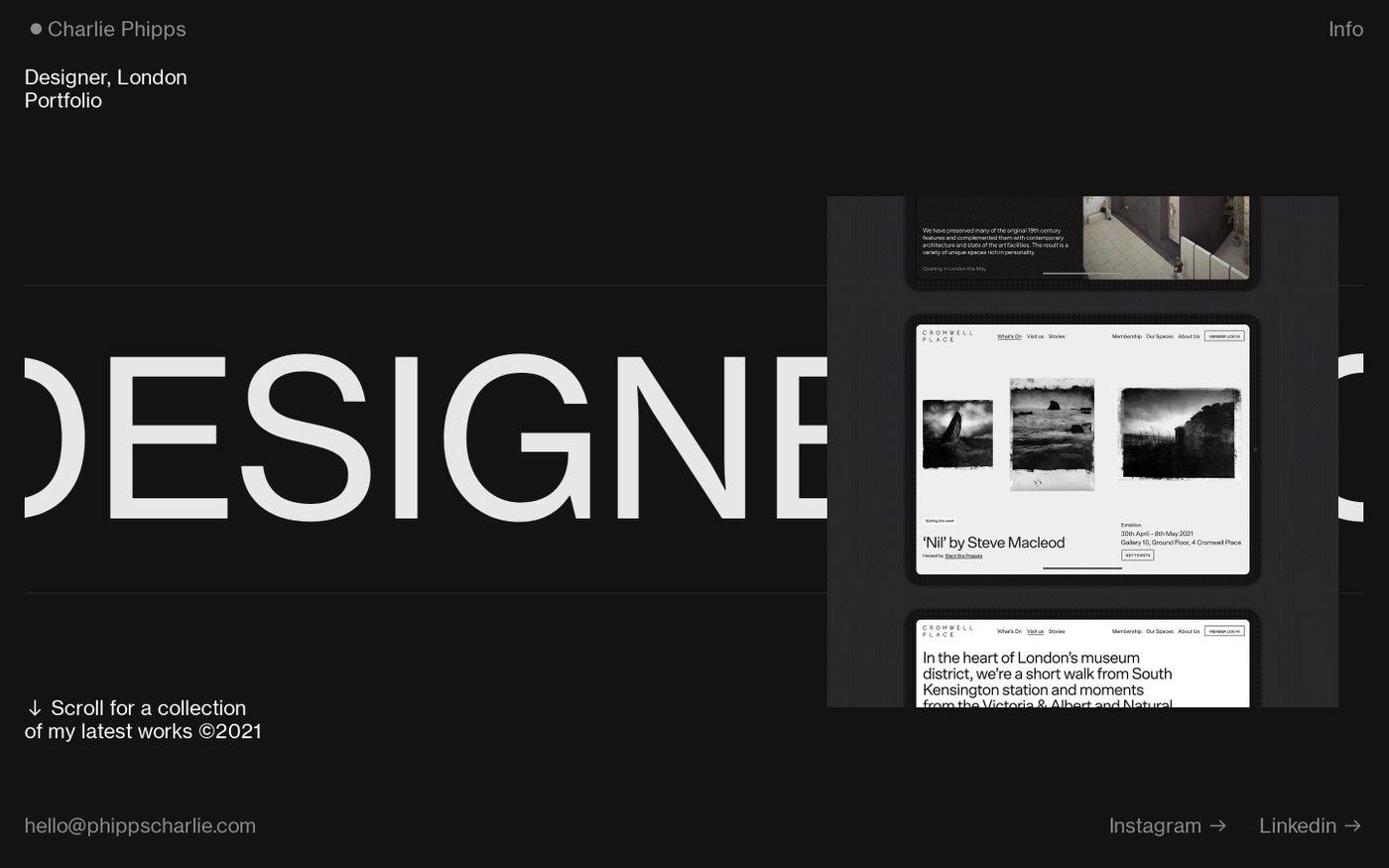 Screenshot of Charlie Phipps website