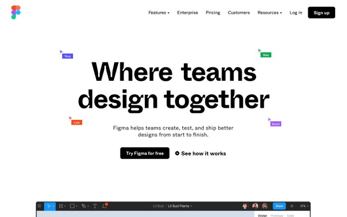 Screenshot of Figma: the collaborative interface design tool. website