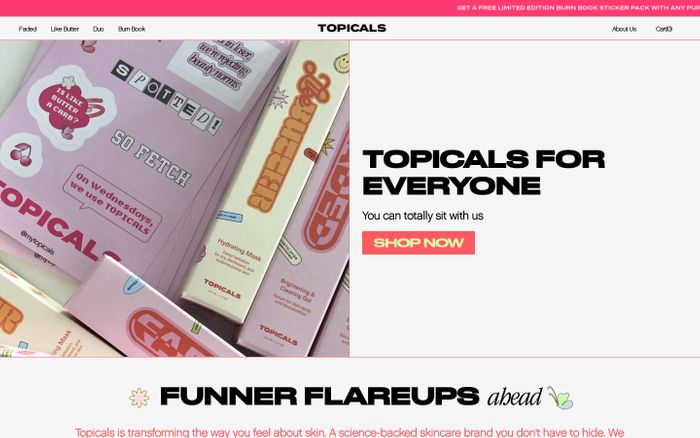 Screenshot of Funner Flare-Ups – Topicals website