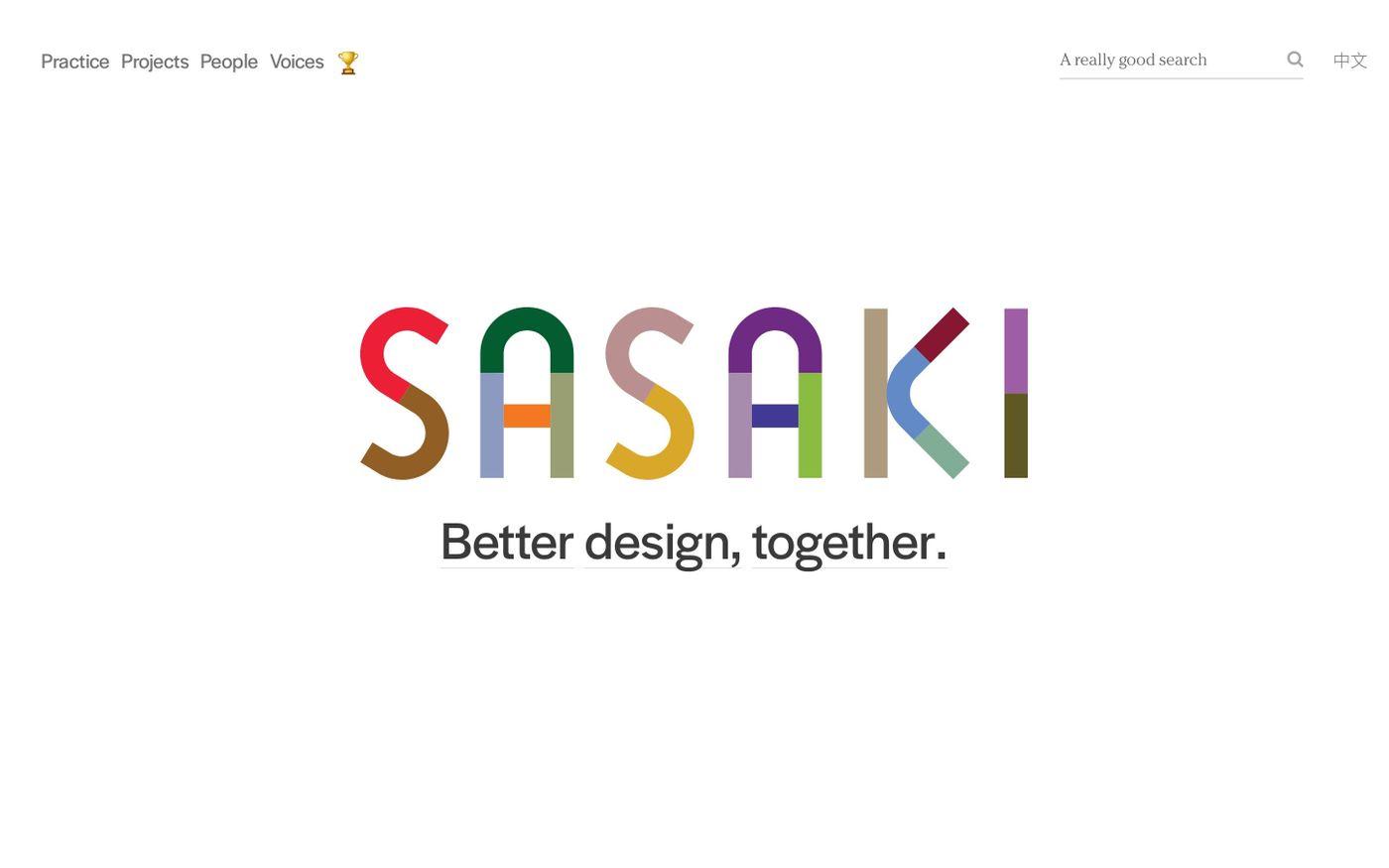 Screenshot of Sasaki website