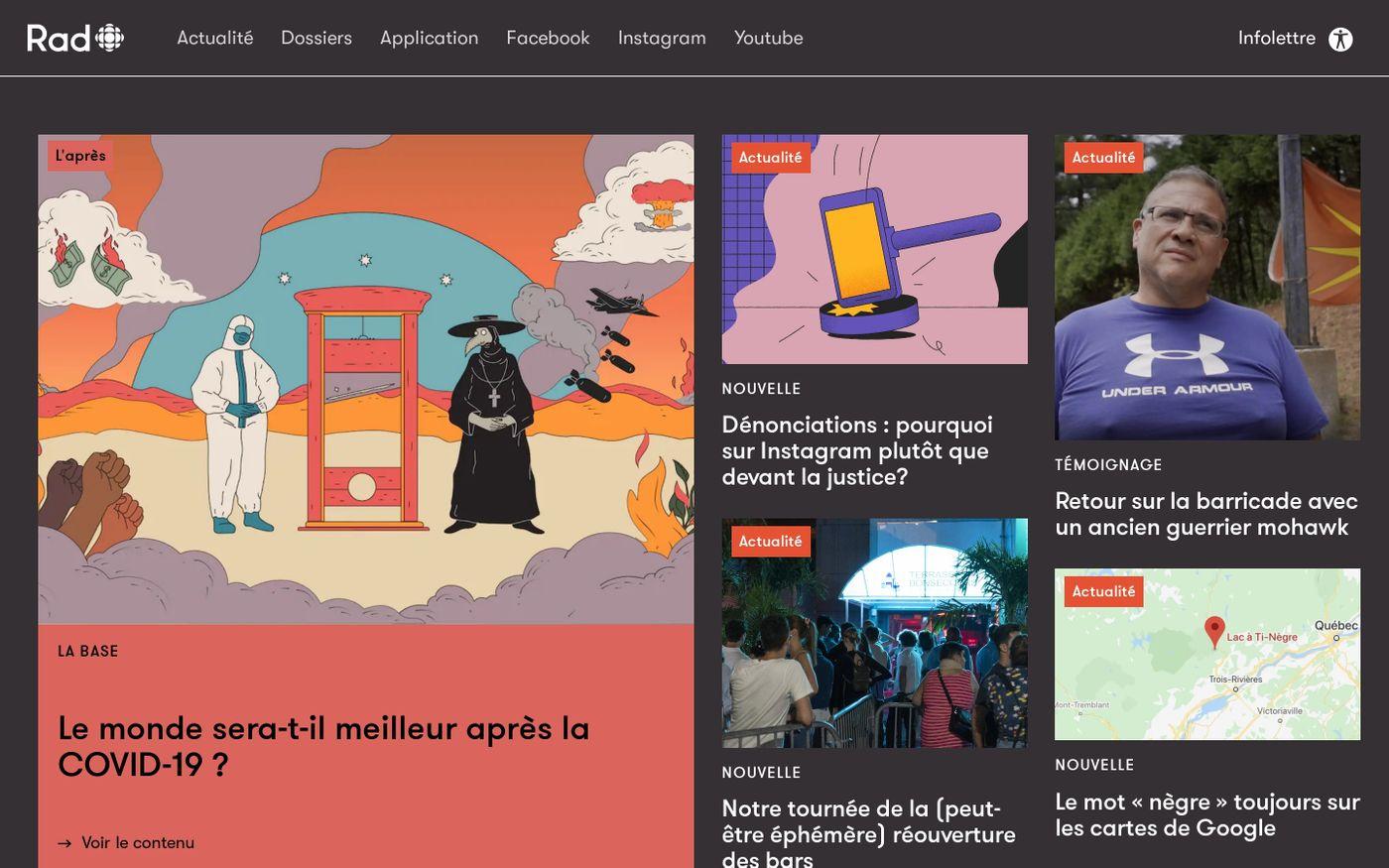 Screenshot of Rad website