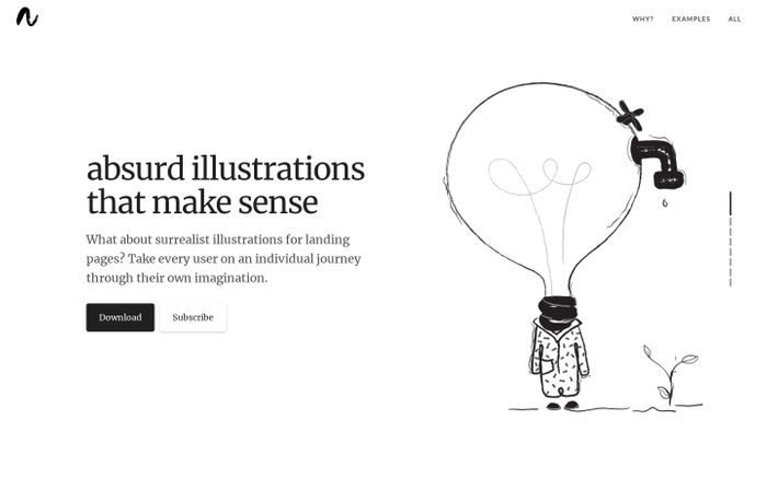 Screenshot of Absurd Design - Free Surrealist Illustrations and Vector Art
