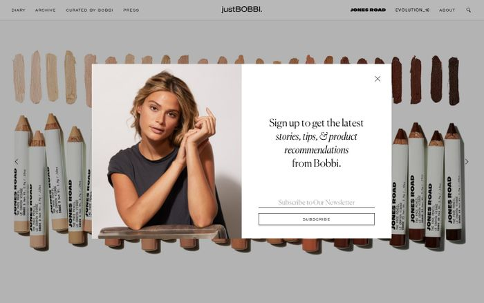 Screenshot of justBOBBI website