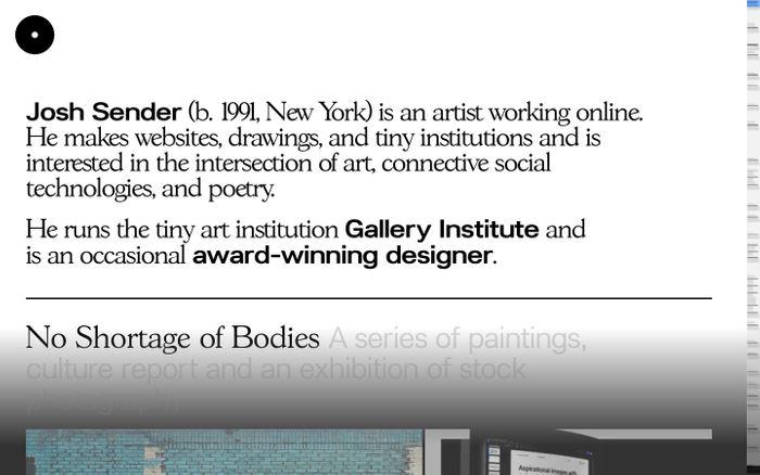 Screenshot of Josh Sender website