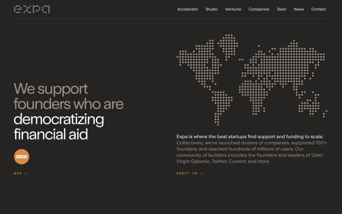 Screenshot of Expa website