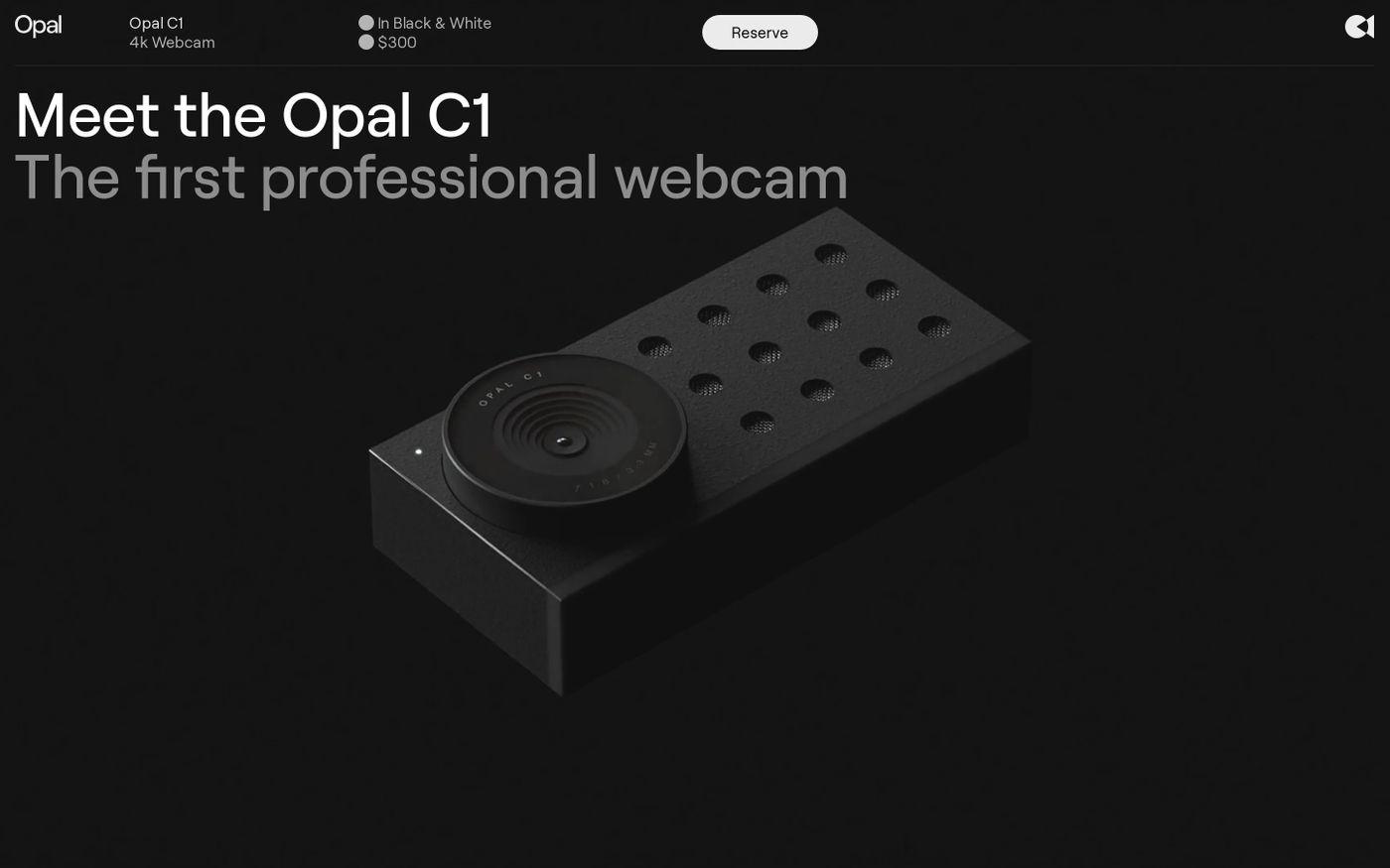 Screenshot of Opal Camera website
