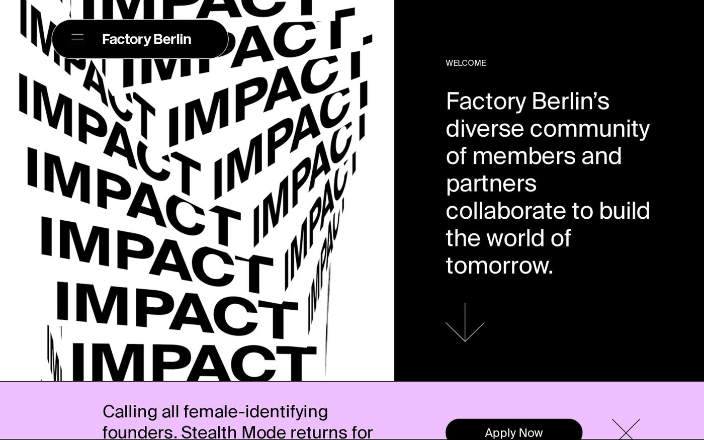 Screenshot of Factory Berlin website
