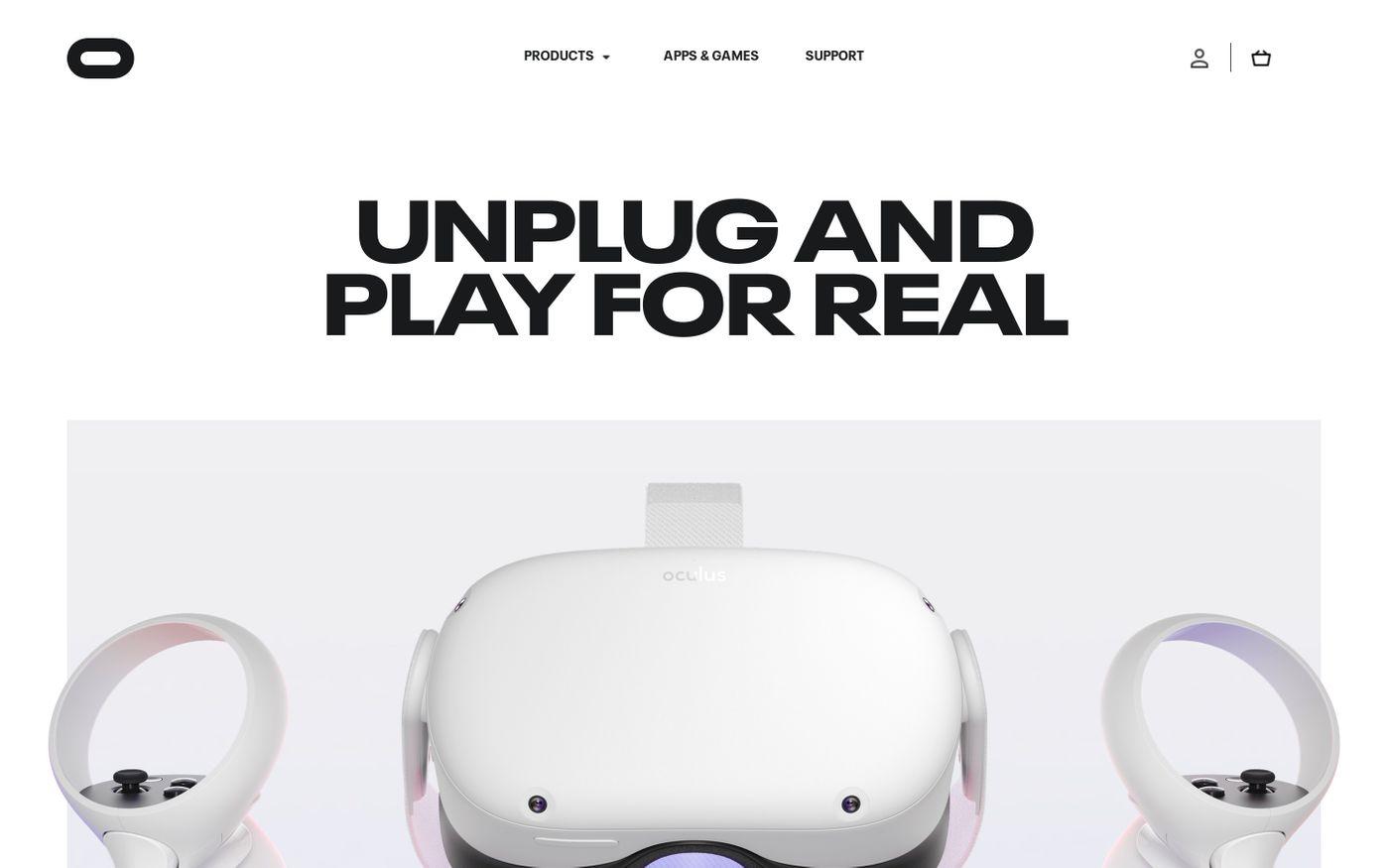 Screenshot of Oculus website