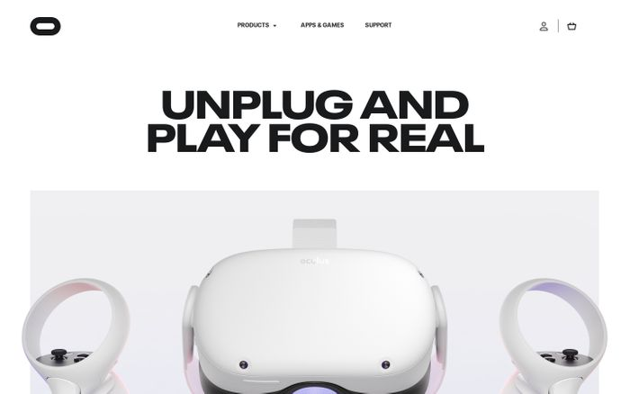 Screenshot of Oculus website