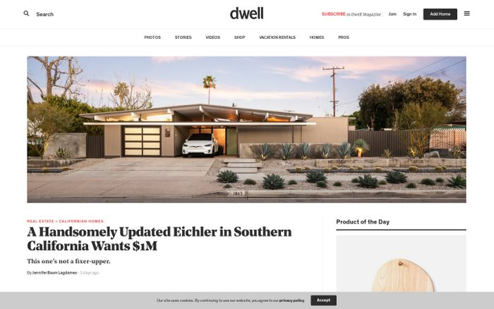 Screenshot of Modern living, home design ideas, inspiration, and advice. - Dwell