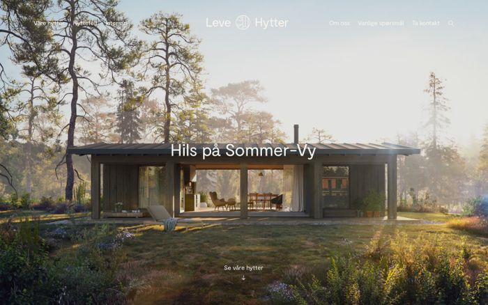 Screenshot of Leve Hytter | Tidløst design, solid håndverk