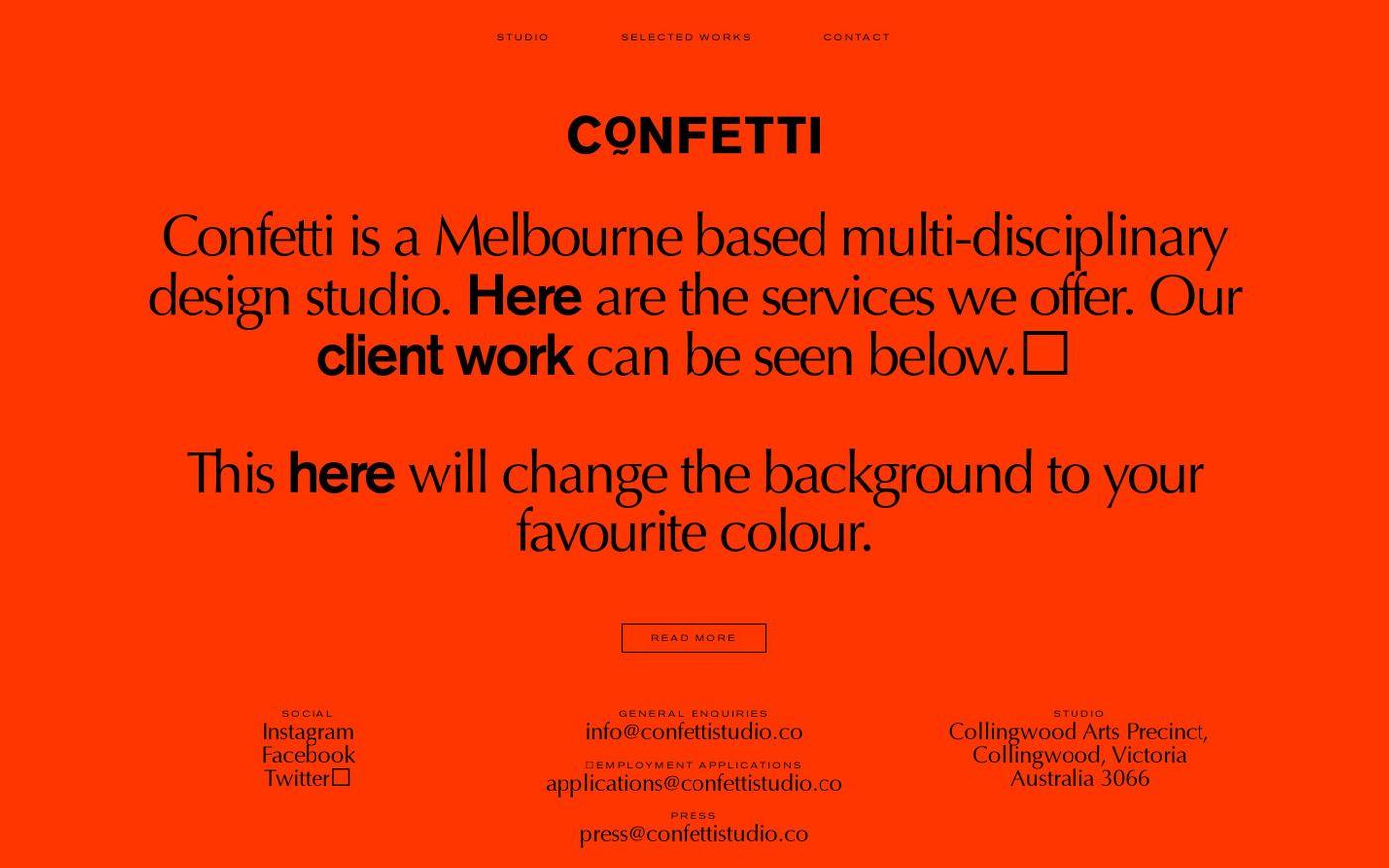 Screenshot of Confetti Studio website