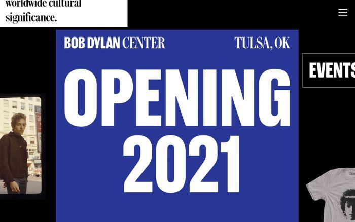 Screenshot of Bob Dylan Center | Tulsa, OK