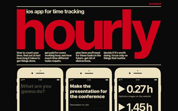 Screenshot of hourly, ios app for time tracking