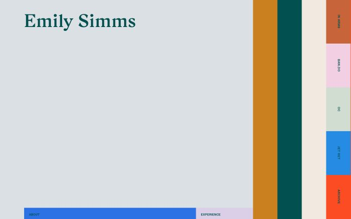 Screenshot of Emily Simms website