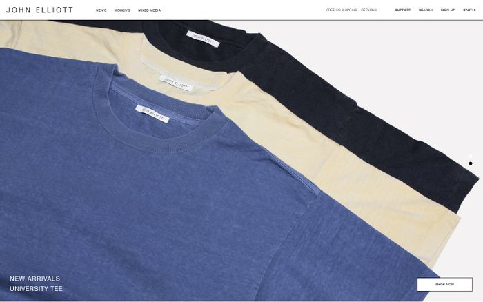 Screenshot of John Elliott Official Online Store | Johnelliott.com