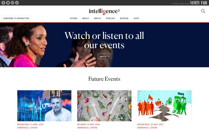 Screenshot of Homepage - Intelligence Squared