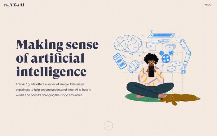 Screenshot of The A-Z of AI website