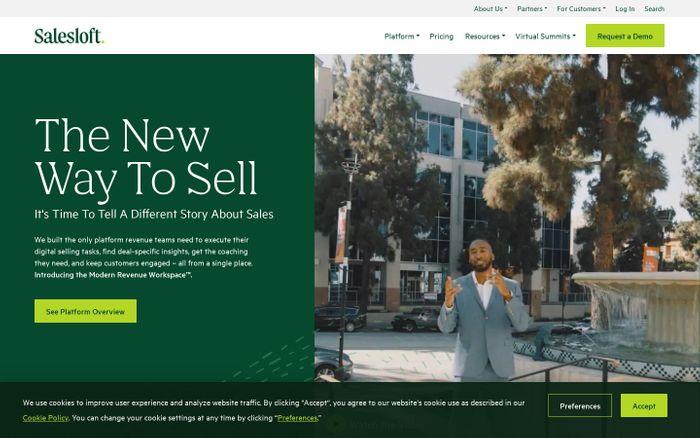 Screenshot of Salesloft website