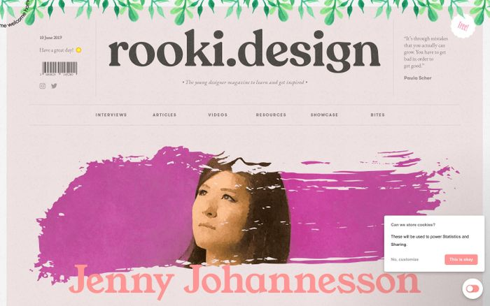 Screenshot of rooki.design - The young designer magazine