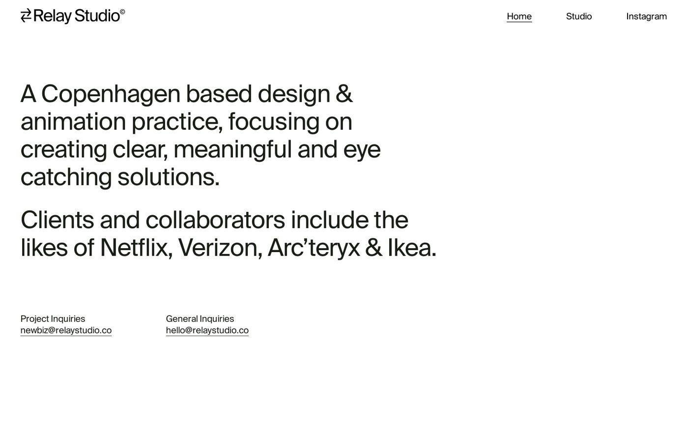 Screenshot of Relay studio website