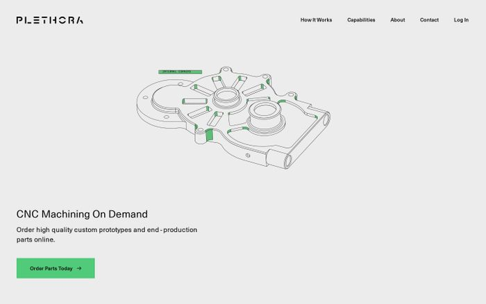 Screenshot of CNC Machining & Rapid Prototyping On Demand | Plethora