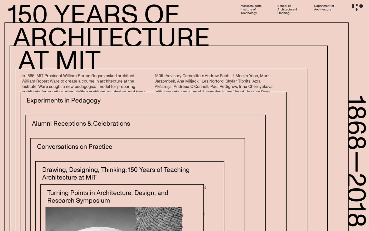 Screenshot of 150 years of architecture website