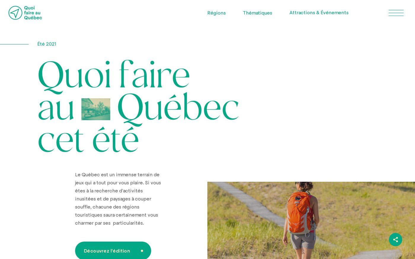 Screenshot of Quoi faire au  Québec cet été website