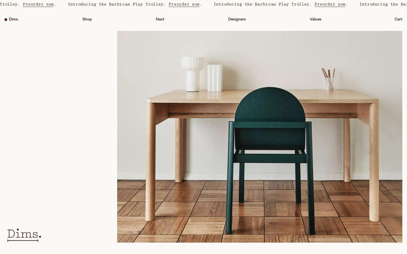 Screenshot of Dims. website