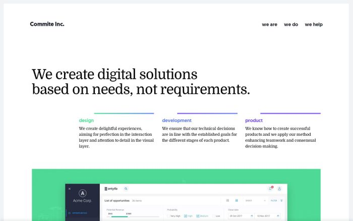 Screenshot of Commite Inc. — We create digital solutions based on needs, not requirements.