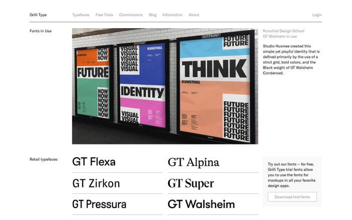 Screenshot of Grilli Type website