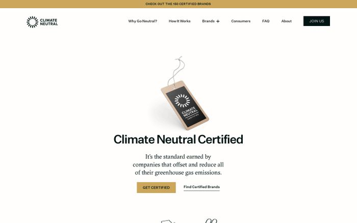 Screenshot of Climate Neutral Certified website