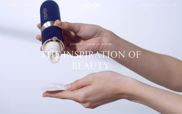 Screenshot of CEMOY:INSPIRATION OF BEAUTY | Skincare for women who dare to reach their dreams. For women who dare to see more. website