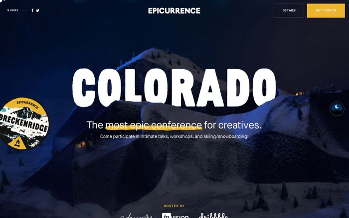 Screenshot of Epicurrence website