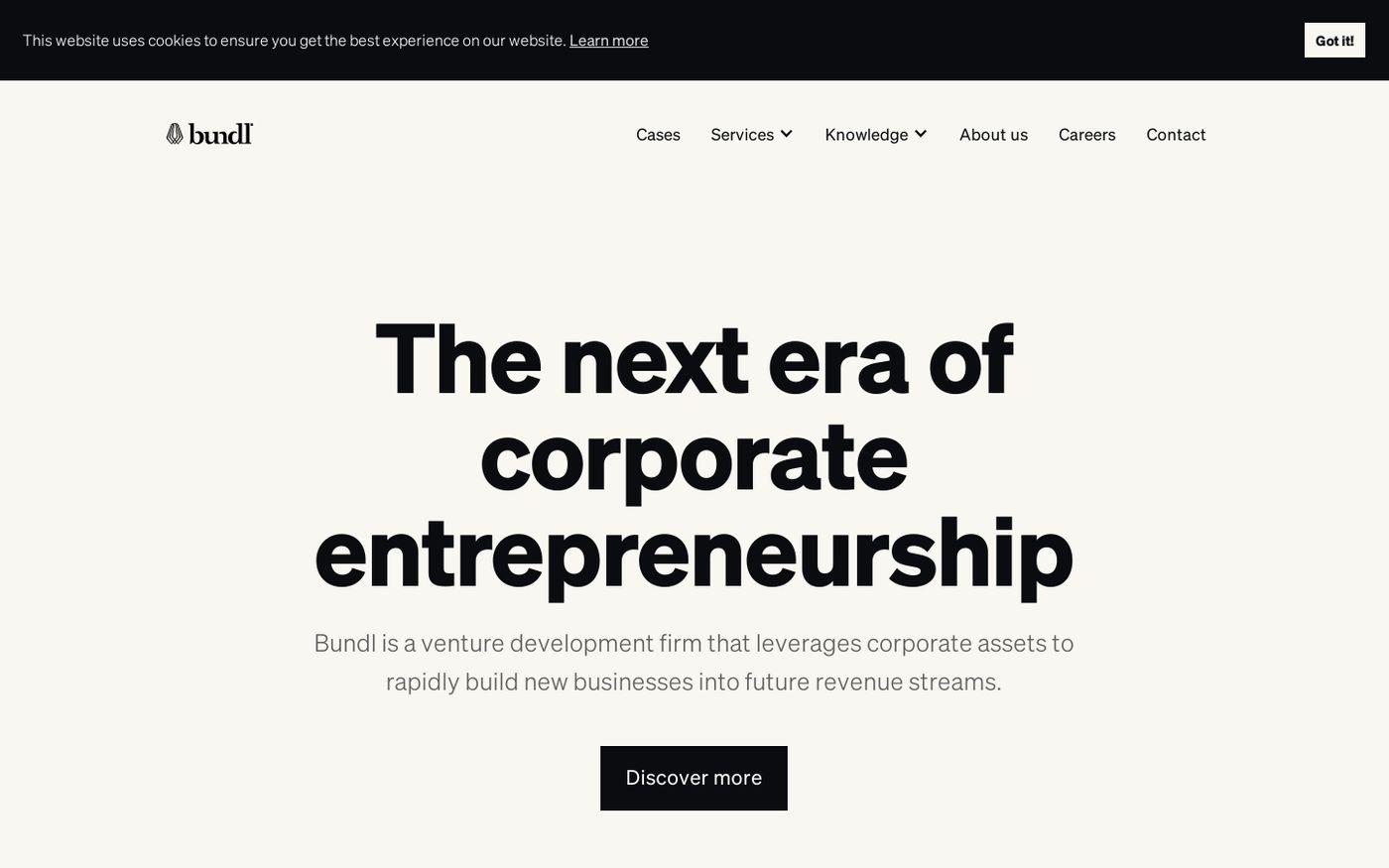 Screenshot of Bundl website