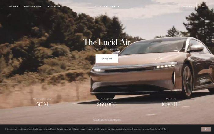 Screenshot of  Lucid Motors website