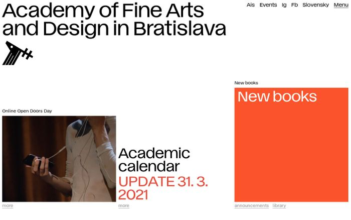 Screenshot of Academy of Fine Arts and Design website