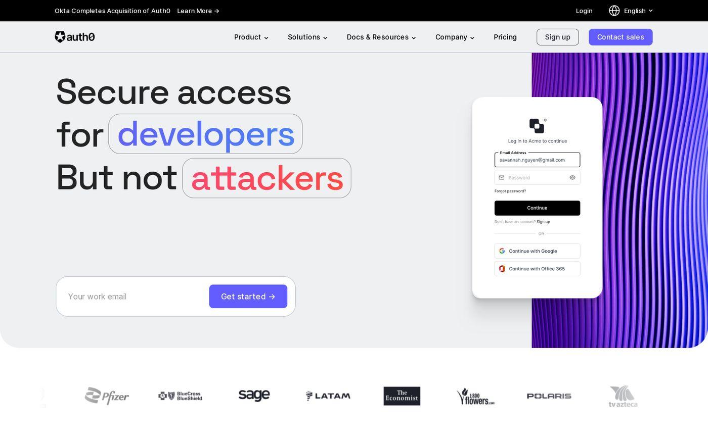 Screenshot of Auth0 website