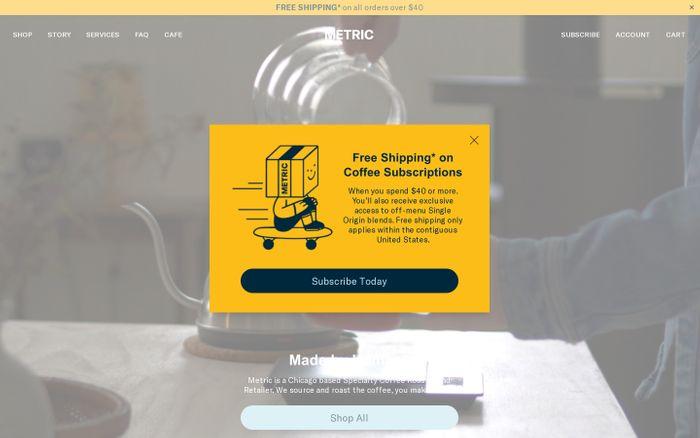 Screenshot of Metric website