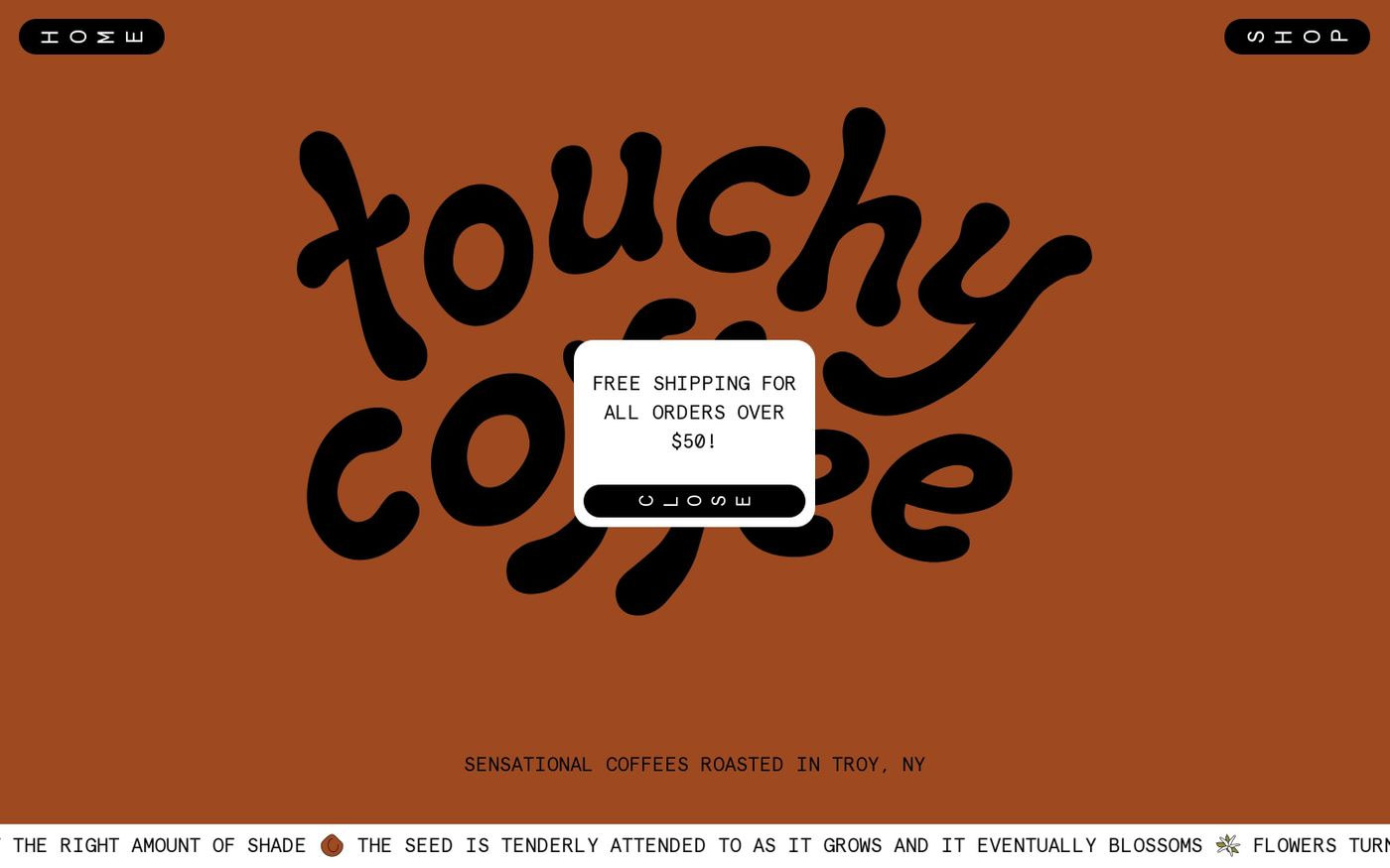 Screenshot of Touchy Coffee website