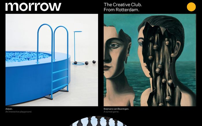 Screenshot of Morrow, The Creative Club from Rotterdam.
