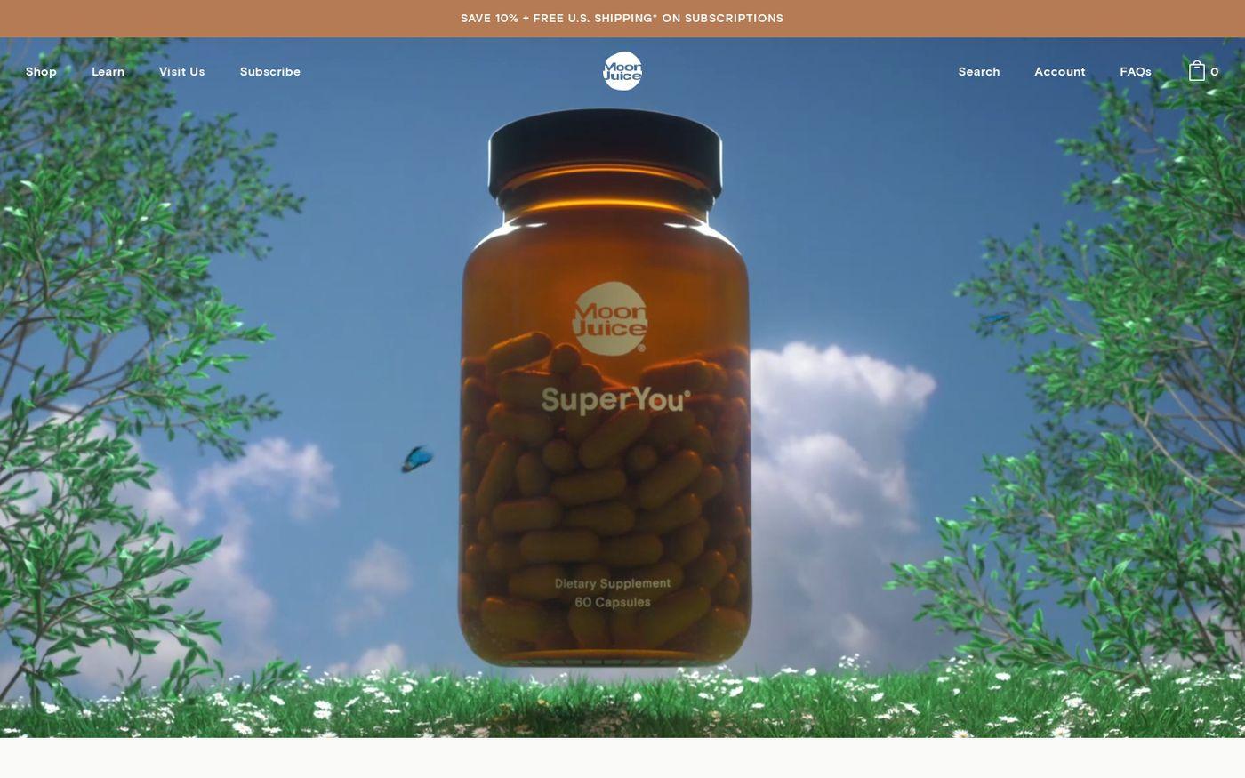 Screenshot of Moon Juice website