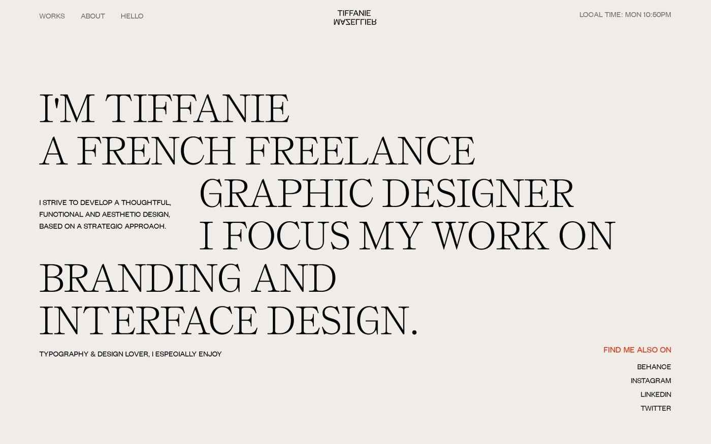 Screenshot of Tiffanie Mazellier website