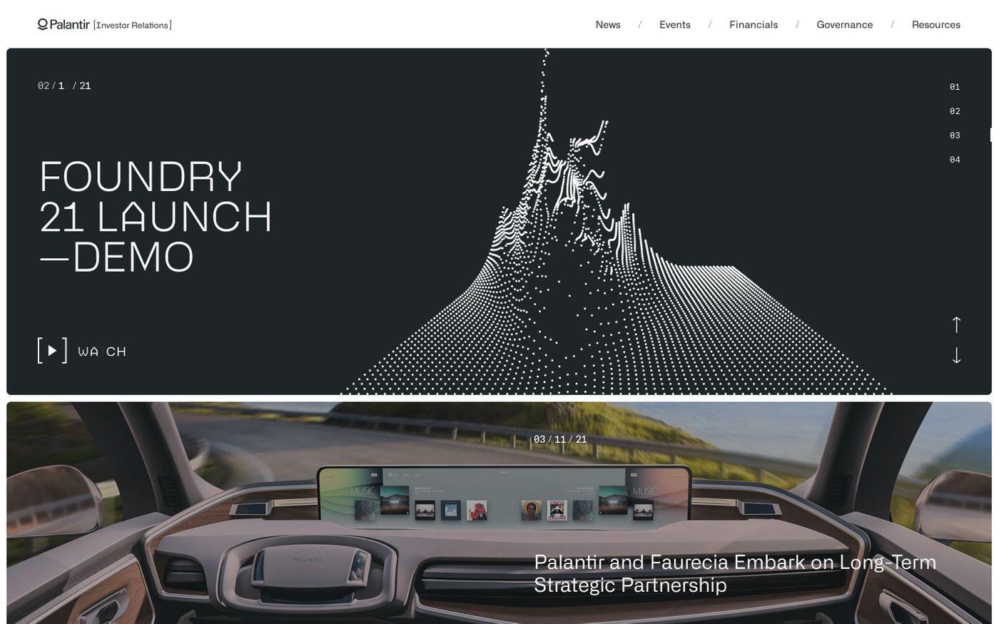 Screenshot of Palantir investor relations website