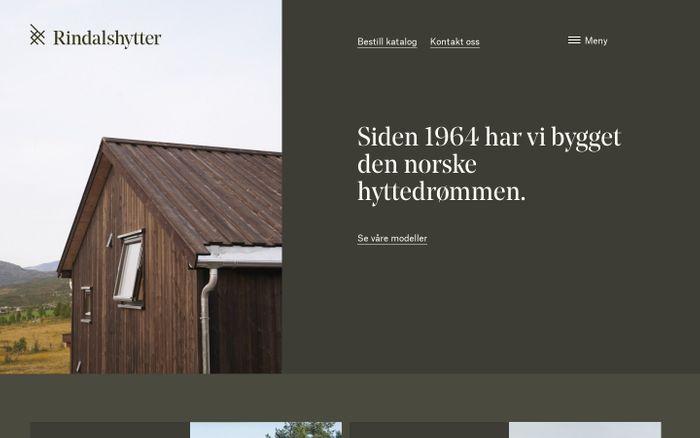 Screenshot of Rindalshytter: Ferdighytter levert som byggesett eller nøkkelferdig