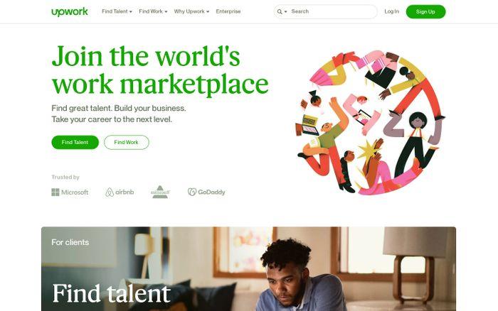 Screenshot of Upwork website
