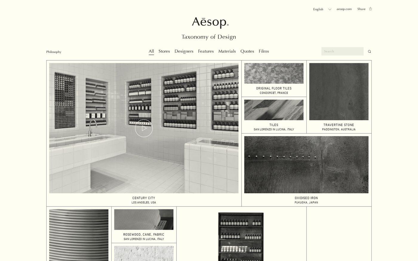 Screenshot of Taxonomy of design website