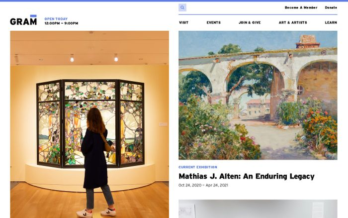 Screenshot of Grand Rapids Art Museum website