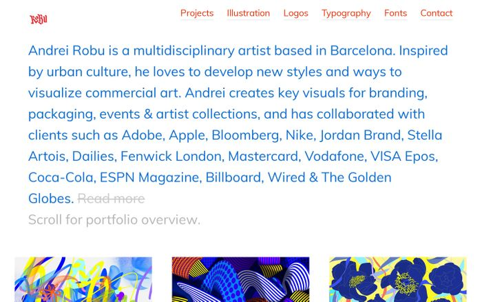 Screenshot of Andrei Robu Studio – Design direction & illustration